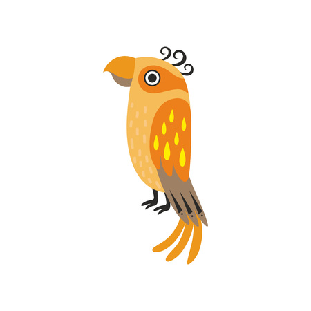 Cute Orange Tropical Parrot Bird Vector Illustration on White Background.