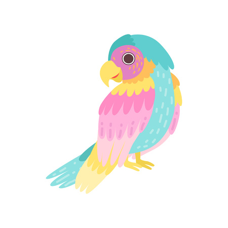 Tropical Parrot Bird with Colored Plumage Vector Illustration on White Background. Illustration