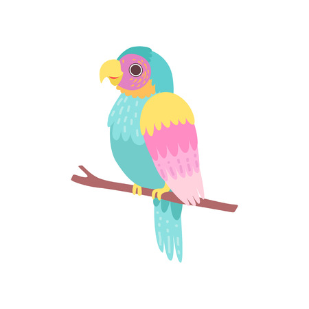 Beautiful Tropical Parrot Sitting on Perch Vector Illustration on White Background.