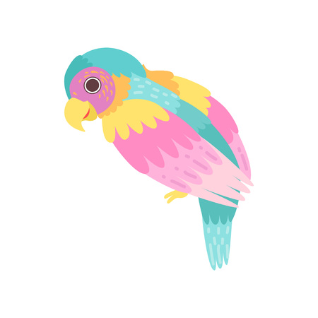 Tropical Parrot Bird with Colored Plumage Vector Illustration on White Background.  イラスト・ベクター素材