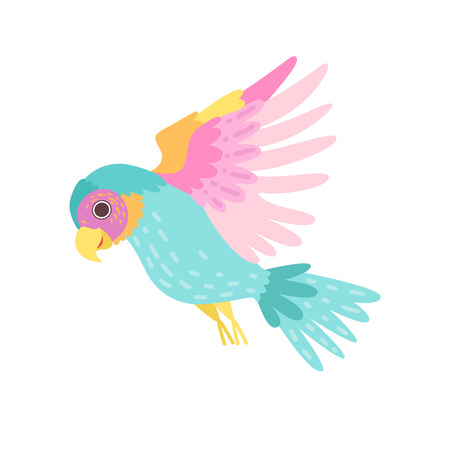 Tropical Parrot Bird with Colored Plumage Flying Vector Illustration on White Background. Illustration