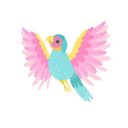 Tropical Parrot Bird with Iridescent Plumage Vector Illustration on White Background.