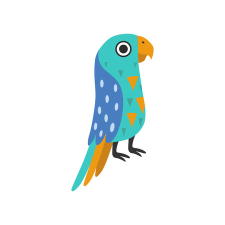 Macaw Parrot Tropical Bird with Colored Feathers and Wings Vector Illustration on White Background.