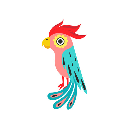 Parrot with Crest, Tropical Bird with Colored Feathers and Wings Vector Illustration on White Background. Illustration
