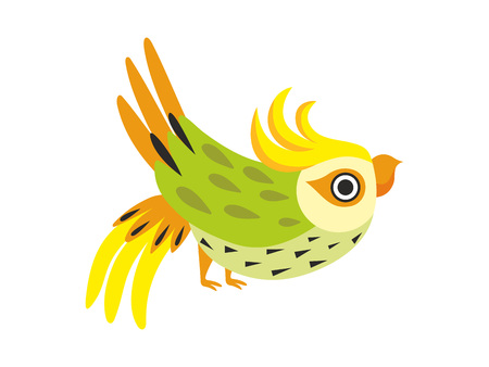 Corella Parrot, Tropical Bird with Colored Feathers and Wings Vector Illustration on White Background. Illustration