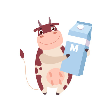 Cute Smiling Cow Holding Packaging of Milk, Funny Farm Animal Cartoon Character Vector Illustration on White Background.
