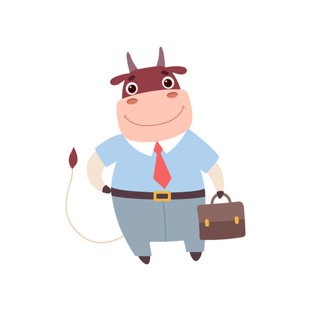 Smiling Bull Businessman Wearing Formal Clothes, Cute Farm Animal Cartoon Character Standing with Briefcase Vector Illustratioon White Background.