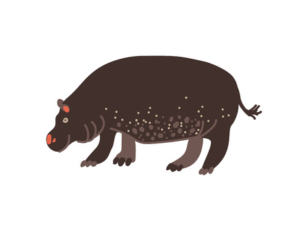 Hippopotamus Wild Exotic African Animal Vector Illustration on White Background.