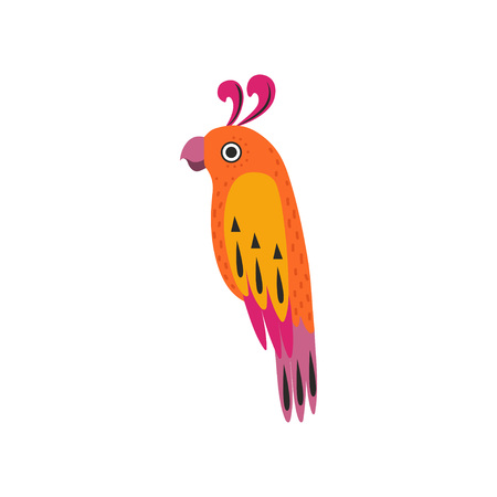 Beautiful Tropical Parrot Bird with Colored Feathers and Wings Vector Illustration on White Background. Illustration