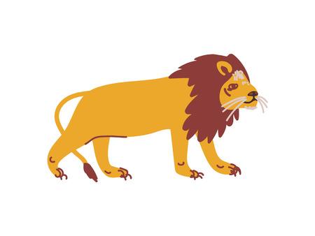Lion Wild Exotic African Animal Vector Illustration  イラスト・ベクター素材
