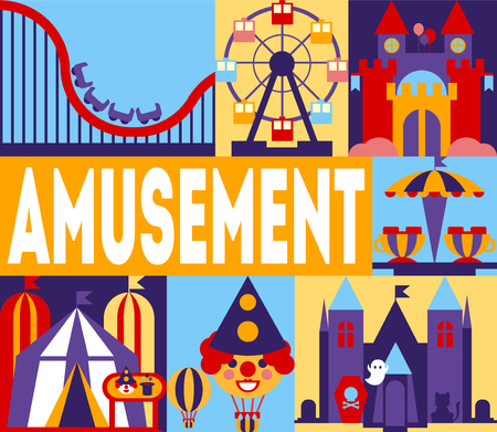 Amusement Park Banner, Carnival, Circus Funfair with Carousels, Rollercoaster, Horror Castle Vector Illustration Illustration