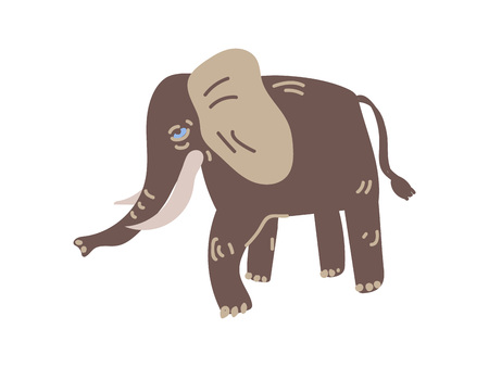 Elephant Wild Exotic African Animal Vector Illustration on White Background.