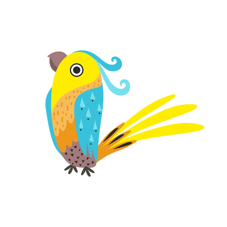 Beautiful Parrot with Colored Feathers and Wings Vector Illustration on White Background.