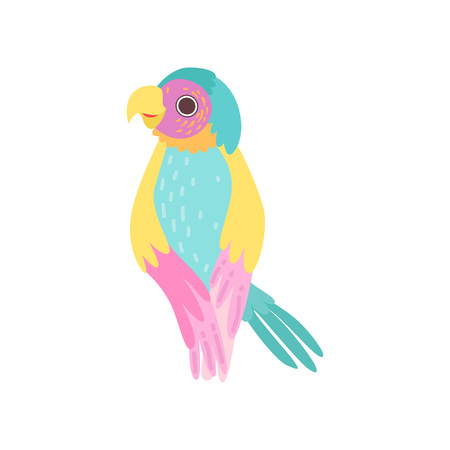Beautiful Tropical Parrot with Iridescent Plumage Vector Illustration on White Background.