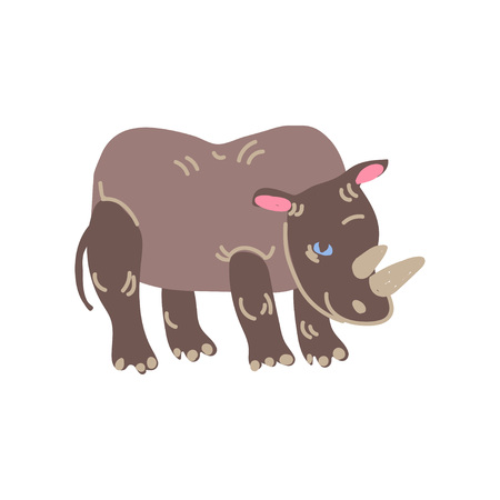 Rhinoceros Wild Exotic African Animal Vector Illustration