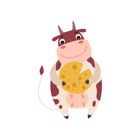 Cute Smiling Cow Holding Cheese Wheel, Funny Farm Animal Cartoon Character Vector Illustration on White Background.