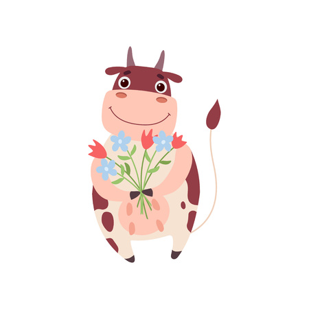 Cute Smiling Cow Standing on Two Legs with Bouquet of Flowers, Funny Farm Animal Cartoon Character Vector Illustration on White Background.