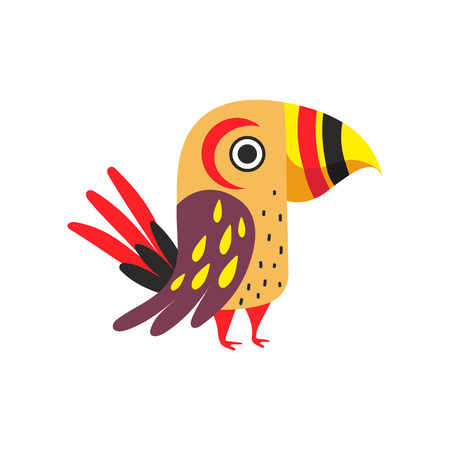 Tropical Parrot with Colored Feathers, Wings and Tail Vector Illustration on White Background.
