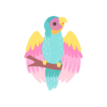 Tropical Parrot Bird with Iridescent Plumage Sitting on Perch Vector Illustration on White Background.