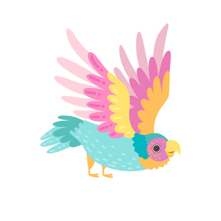 Tropical Parrot Bird with Iridescent Plumage Flying Vector Illustration on White Background.