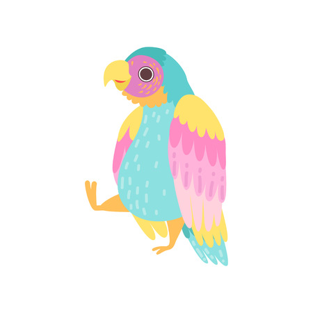 Cute Tropical Parrot with Iridescent Plumage Flying Vector Illustration on White Background.