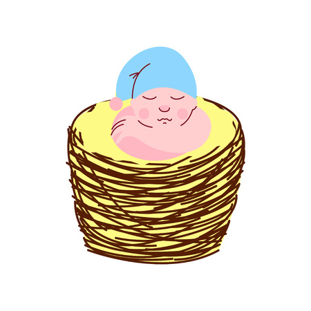 Adorable Newborn Baby in Light Blue Gnome Cap Sleeping in Wicker Basket Vector Illustration on White Background. Illustration
