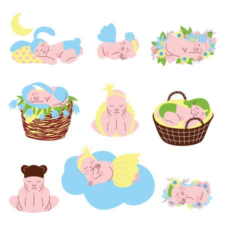 Collection of Cute Sleeping Newborn Babies Vector Illustration on White Background. Illusztráció