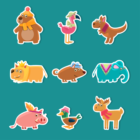 Collection of Cute Cartoon Animal Stickers, Bear, Flamingo, Kangaroo, Lion, Pig, Duck, Deer Vector Illustration on Turquoise Background Illustration
