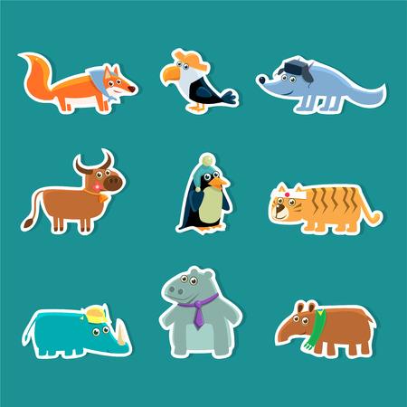 Collection of Cute Cartoon Animal Stickers, Fox, Toucan, Wolf, Cow, Penguin, Tiger, Rhino, Hippopotamus, Aardvark Vector Illustration Illustration