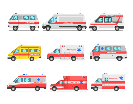 Collection of ambulance service cars, emergency medical vans vector Illustration on a white background