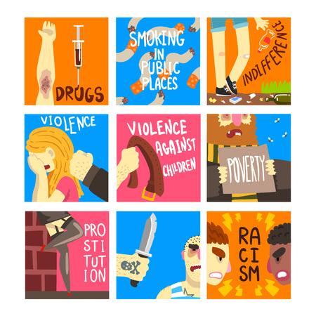 Conjunto de problemas sociales, plantillas de banner sobre indiferencia, drogas, fumar en lugares públicos, violencia, racismo, ilustraciones vectoriales de pobreza, diseño web