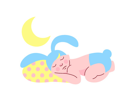 Cute Newborn Baby in Light Blue Bunny Cap and Diaper Sleeping at Night Vector Illustration on White Background.