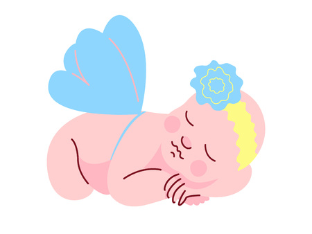 Lovely Newborn Baby Dressed in Flower Headband and Wings Sleeping Vector Illustration on White Background.