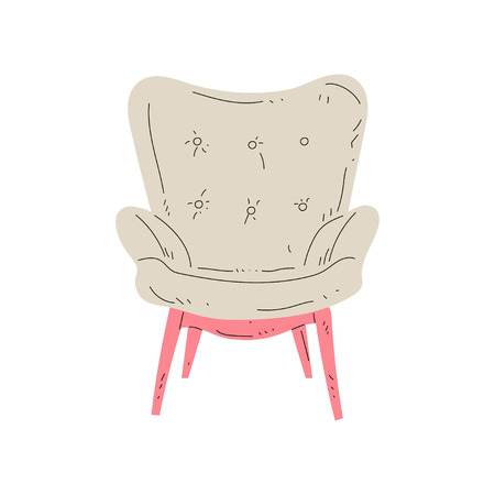 Vintage Comfortable Armchair on Wooden Legs, Cushioned Furniture with Beige Upholstery, Interior Design Element Vector Illustration on White Background.