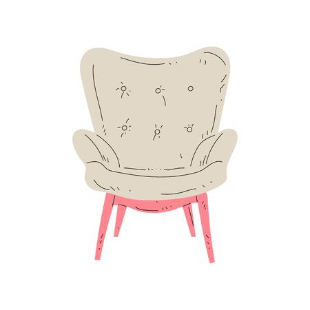Vintage confortevole poltrona su gambe in legno, mobili imbottiti con tappezzeria beige, illustrazione di vettore dell'elemento di design d'interni su sfondo bianco. Vettoriali