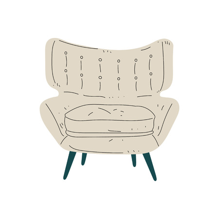 Beige Comfortable Armchair, Cushioned Furniture with Upholstery, Interior Design Element Vector Illustration on White Background.