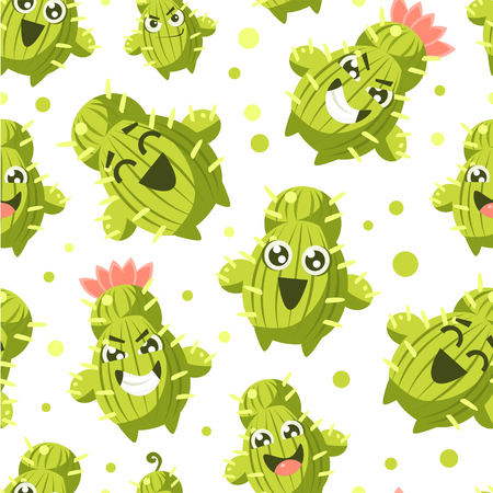 Cactus Seamless Pattern, Cacti Characters with Funny Faces Vector Illustration