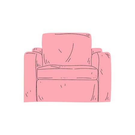 Comfortable Pink Armchair, Cushioned Furniture with Upholstery, Interior Design Element Vector Illustration on White Background.
