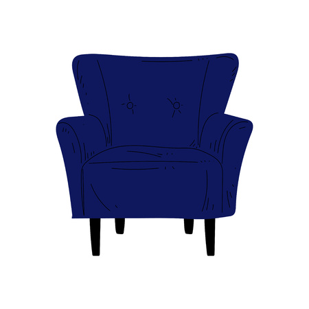 Comfortable Blue Armchair, Cushioned Furniture with Upholstery, Interior Design Element Vector Illustration on White Background.