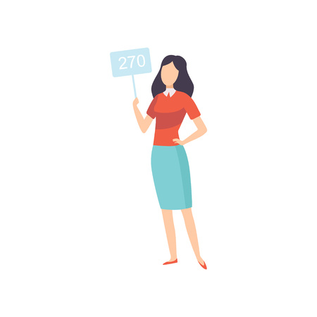 Young Woman Bidding in Public Auction House, Girl Standing and Raising Paddle with Number to Buy Piece of Art Vector Illustration on White Background.
