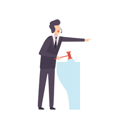 Man with Gavel Standing Behind Special Stand and Announcing Price, Auction Process Vector Illustration on White Background. Çizim