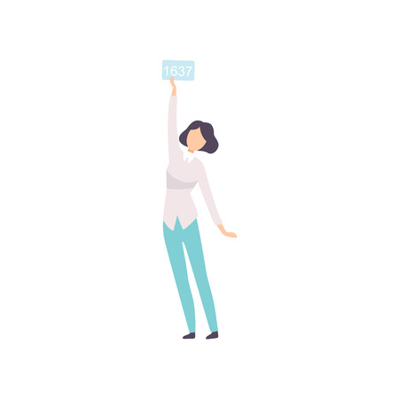 Young Woman Bidding in Public Auction House, Girl Raising Paddle with Number to Buy Piece of Art Vector Illustration on White Background. Illustration
