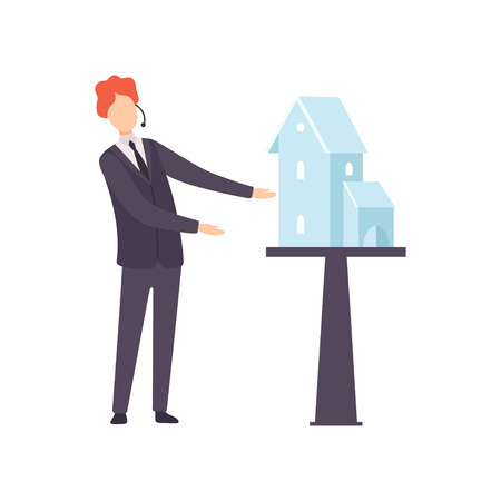 Male Professional Auctioneer Selling House from Auction Vector Illustration on White Background.