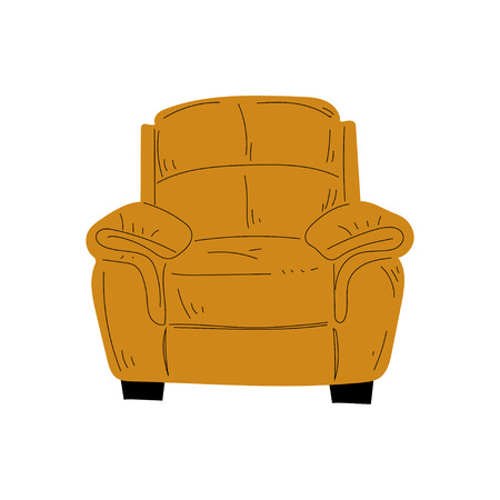Comfortable Armchair, Cushioned Furniture with Ochre Upholstery, Interior Design Element Vector Illustration on White Background. Иллюстрация