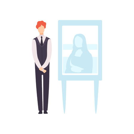 Man Selling Painting in Art Gallery, Auction Process Vector Illustration on White Background.