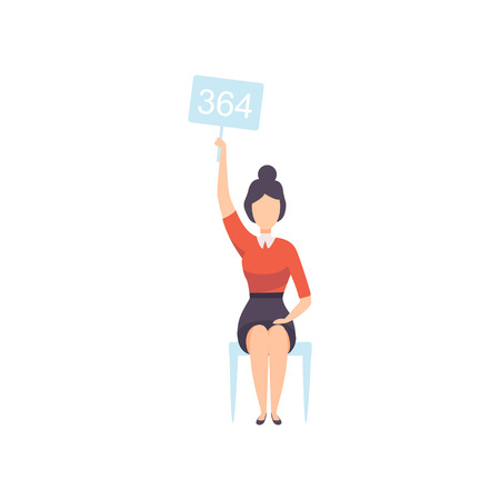 Young Woman Bidding in Public Auction House, Businesswoman Sitting on Chair and Raising Paddle with Number to Buy Piece of Art Vector Illustration on White Background.