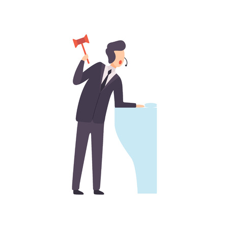 Male Auctioneer with Gavel Standing Behind Special Stand and Announcing Price Vector Illustration on White Background.