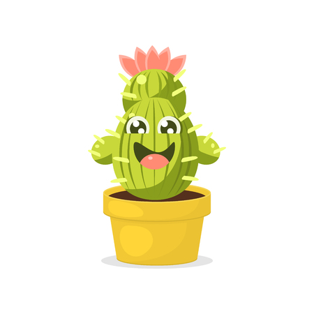Cute Cartoon Cactus Character with Happy Funny Face Vector Illustration on White Background.