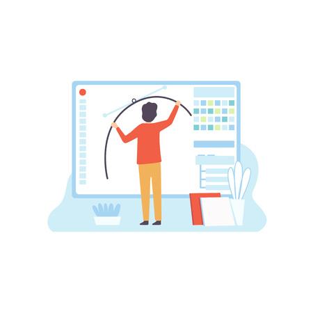 Webdesign, Erstellung digitaler Inhalte, Technologieprozess der Softwareentwicklung, Social Media Marketing Vector Illustration auf weißem Hintergrund.