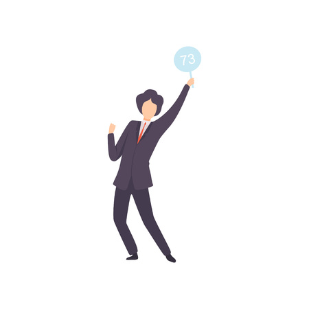 Businessman Bidding in Public Auction House, Male Bidder Standing and Rising Raising Auction Paddle with Number to Buy Piece of Art Vector Illustration on White Background.